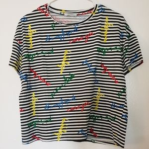 Zara stripped crop top says pine colada and more